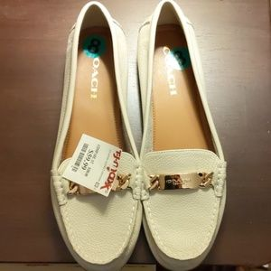 Coach leather loafers,size 8, white